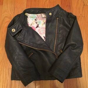 Faux Leather Dark Gray Moto Jacket, size 2T